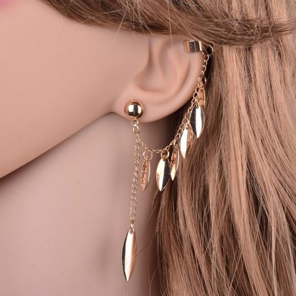 Jewelry Silver Ear Cuff Clip Feather Chain Dangle Earrings Poshmark